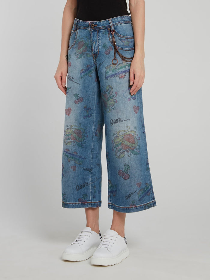 Cropped Printed Wide Leg Jeans