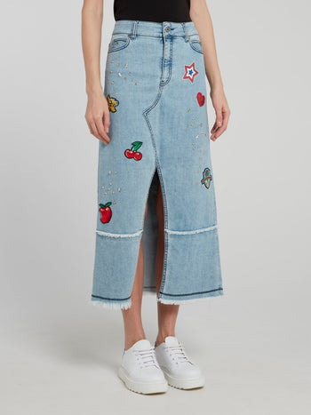 Studded High Slit Frayed Denim Midi Skirt