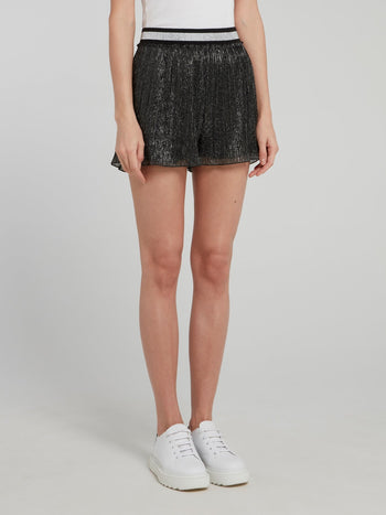 Metallic Tulle Mini Shorts