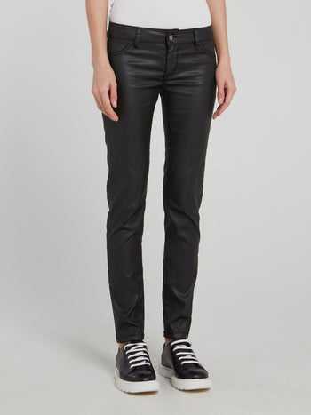 Black Slim Fit Leather Jeans