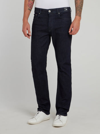 Dark Wash Straight Leg Denim Jeans