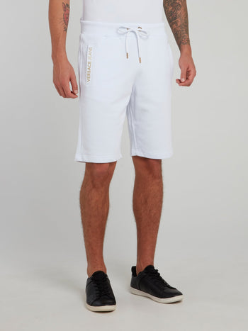 White and Gold Logo Cotton Shorts