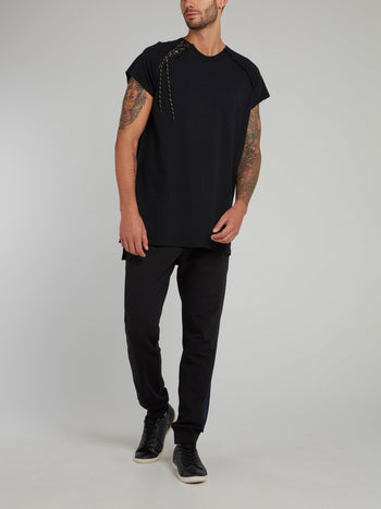 Black Side Stitch Cap Sleeve Shirt