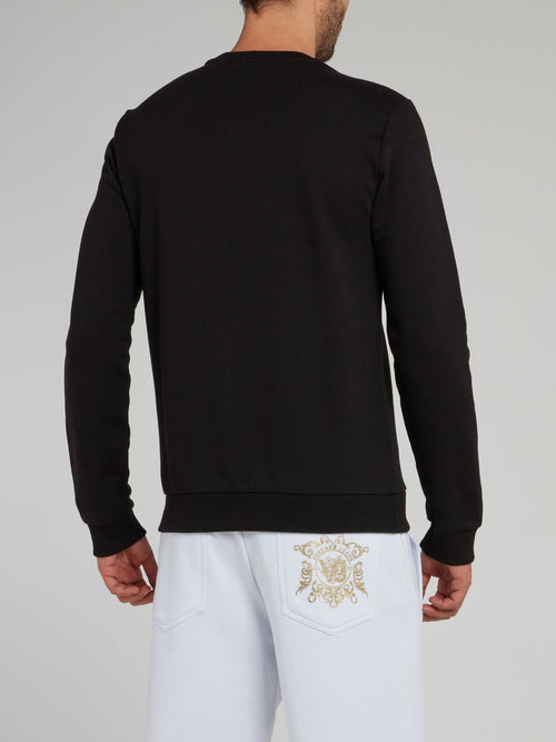 Black with Gold Print Logo Sweater