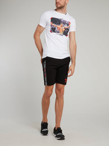 Black Side Stripe Jogging Shorts