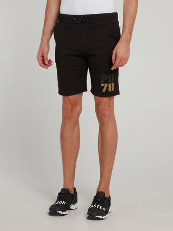 Black Side Stripe Logo Jogging Shorts
