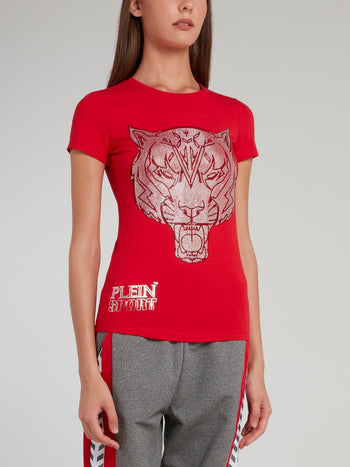 Red Studded Tiger Round Neck T-Shirt