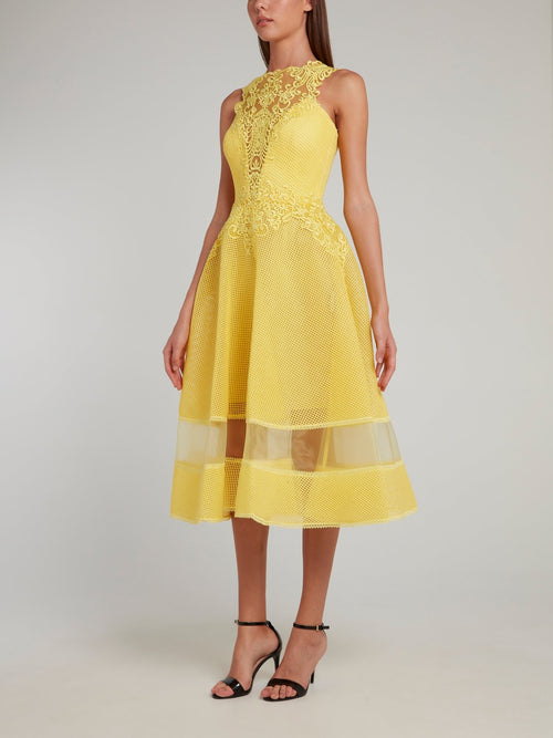 Yellow Lace Neckline Midi Dress