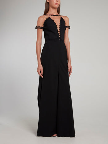 Black Illusion Neckline Maxi Dress