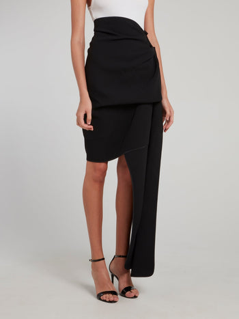 Black Fortune Drape Skirt