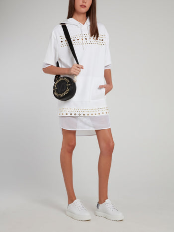White Net Edge Embellished Hooded Dress