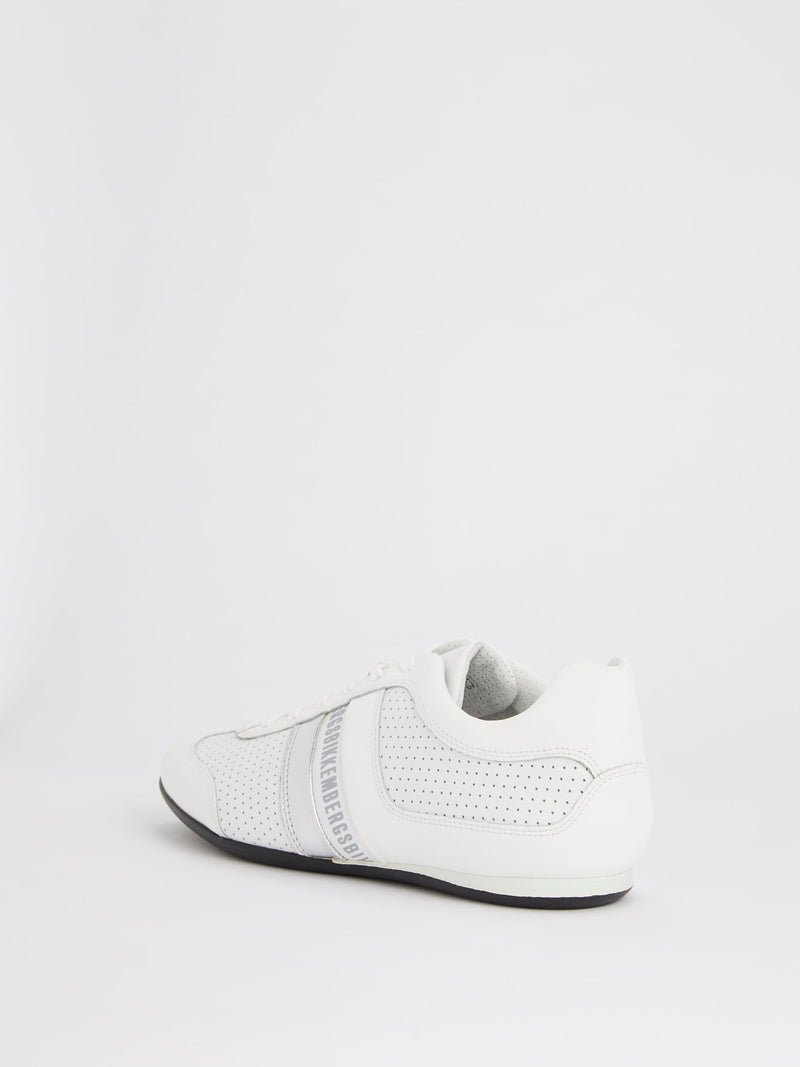 White Perforated Low Top Sneakers