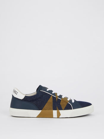 Navy with Gold Stripe Denim Sneakers