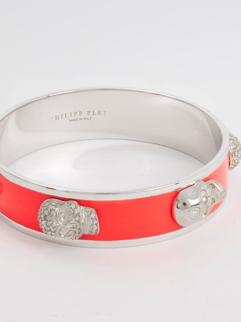 Coral Orange Crystal Skull Bangle