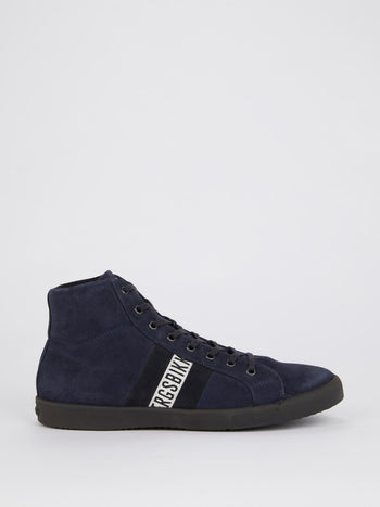 Navy High Top Suede Sneakers