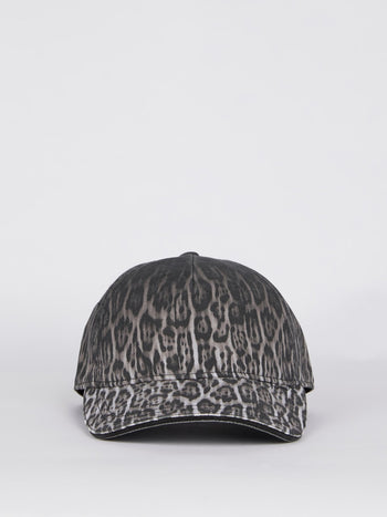 Grey Leopard Print Cotton Cap