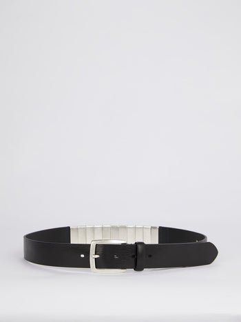 Logo Embellished Leather Belt