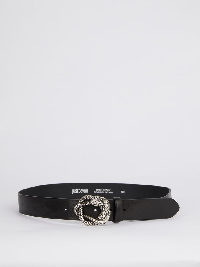 Snake Buckle Leather Belt