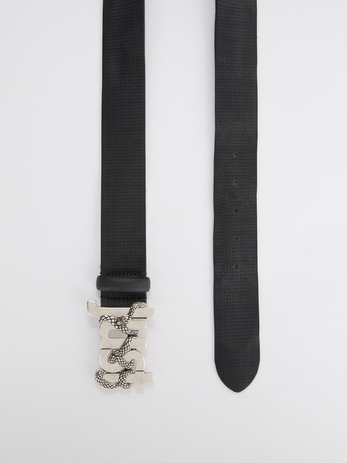 Logo Buckle Textured Leather Belt