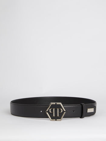 Logo Buckle Calf Leather Belt