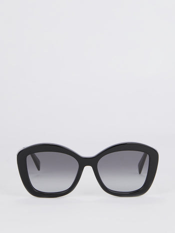 Shiny Black Square Sunglasses