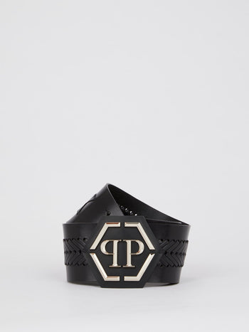 Black Braided Logo Belt