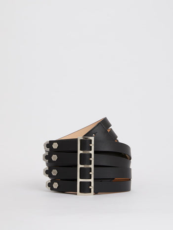 Black Multi-Strap Leather Belt