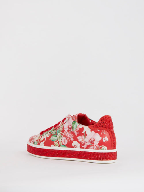 Red Floral Studded Sneakers