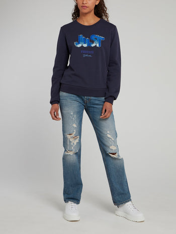 Navy Sequin Studded Logo Sweatshirt