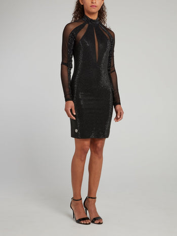 Black Crystal Studded Mesh Panel Mini Dress