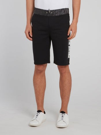 Black Ribbed Waistband Jogging Shorts