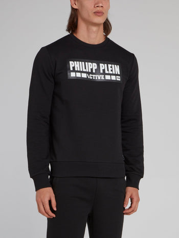 Black Rubber Print Logo Sweatshirt