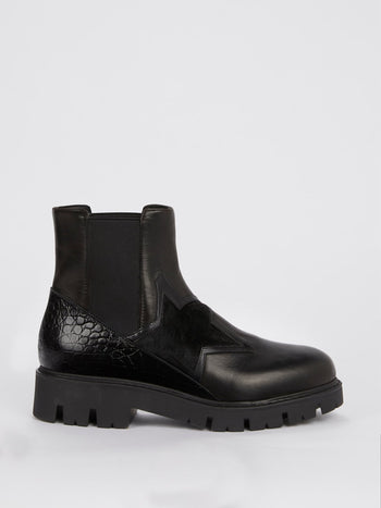 Black Crocodile Panel Leather Boots