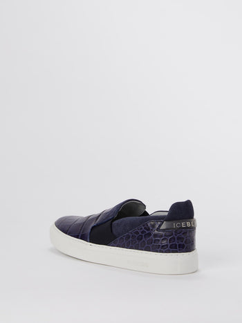 Purple Crocodile Effect Slip On Sneakers