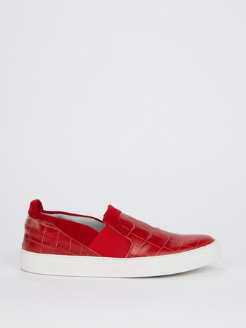 Red Crocodile Effect Slip On Sneakers