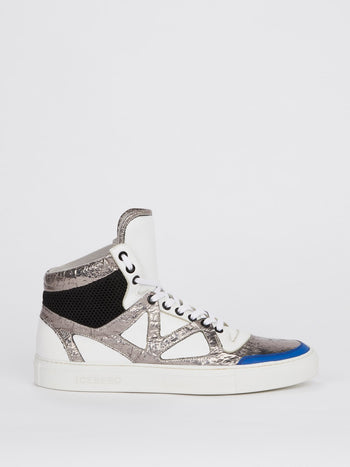 Silver Foil Panel High Top Sneakers