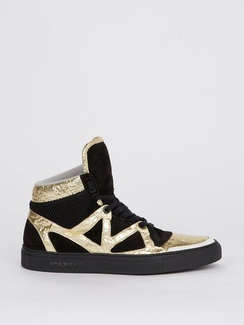 Gold Foil Panel High Top Sneakers