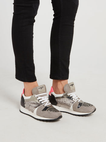 Grey Sequin Embellished Suede Sneakers