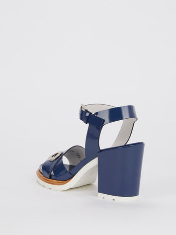 Navy Block-Heel Patent Leather Sandals