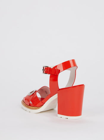Red Block-Heel Patent Leather Sandals