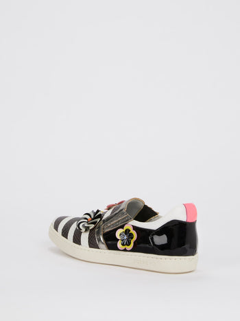 Snake Effect Appliquéd Stripe Sneakers