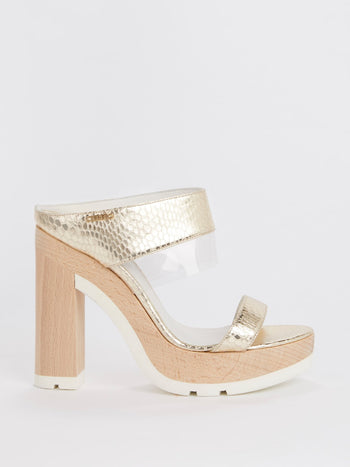 Gold Snake Effect Block-Heel Sandals