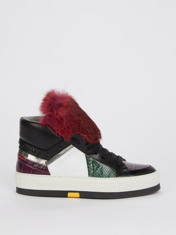 Burgundy Faux Fur High Top Sneakers