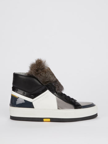 Grey Faux Fur High Top Sneakers