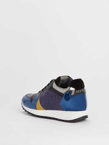 Blue Crocodile Panel Oversized Sneakers