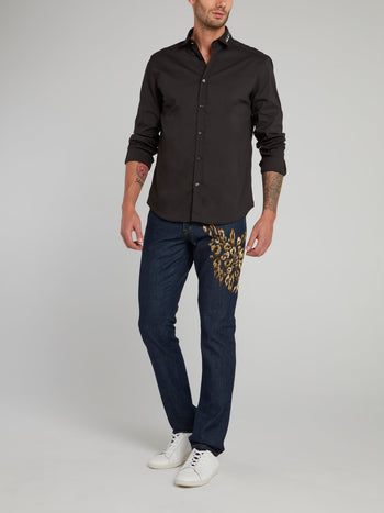 Straight Leg Leopard Embroidered Jeans