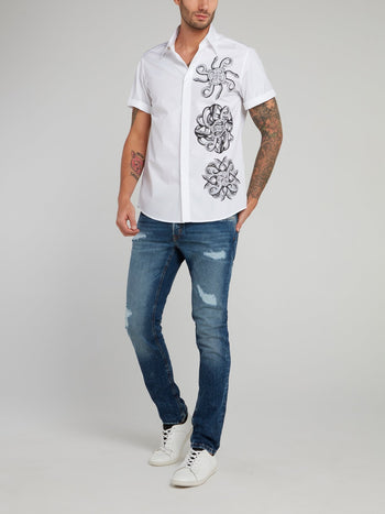 White Snake Print Short Sleeve Shirt