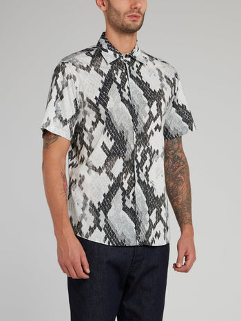 Snake Skin Print Short Sleeve Shirt