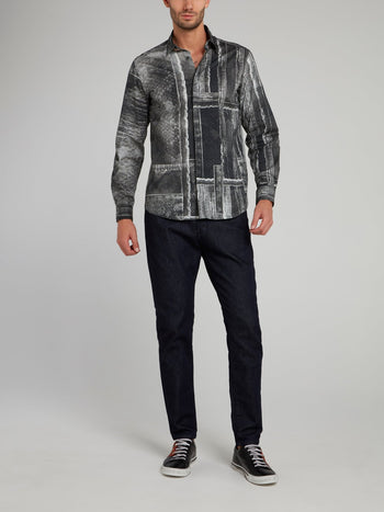 Grey Patch Print Snake Effect Long Sleeve Shirt