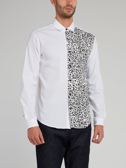 White Leopard Panel Long Sleeve Shirt